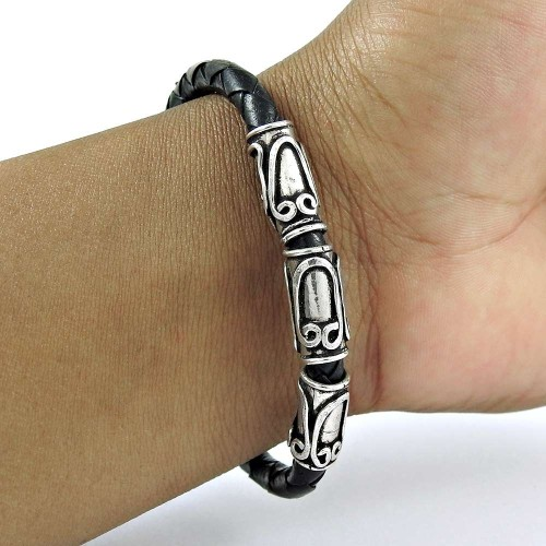 Possessing Good Fortune 925 Sterling Silver Leather Bracelet Traditional Jewelry