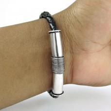 Handy 925 Sterling Silver Leather Bracelet Ethnic Jewelry