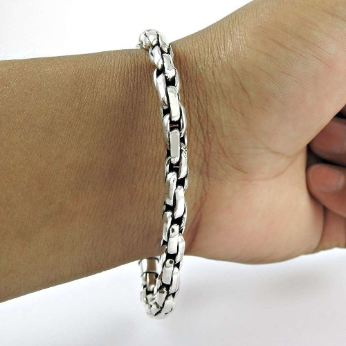 Pleasing 925 Sterling Silver Chain Bracelet Jewelry