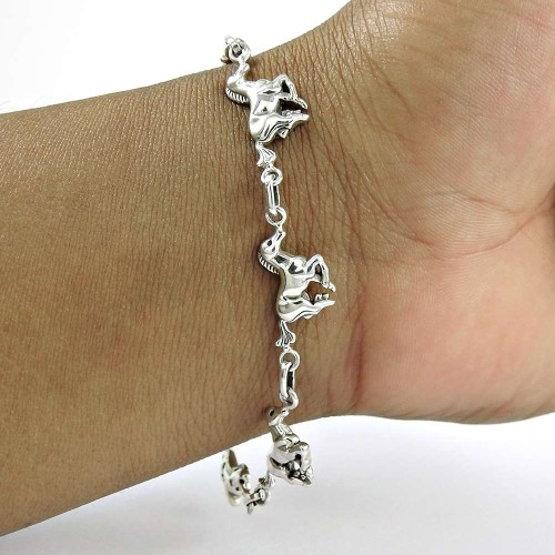 Horse Charm Bracelet 925 Sterling Silver Vintage Jewelry