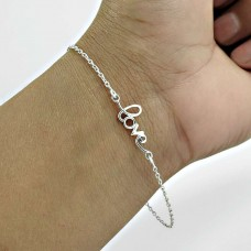 Lustrous Solid 925 Sterling Silver Chain Love Bracelet Fashion Jewelry