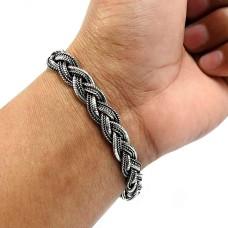 Indian HANDMADE Jewelry 925 Solid Sterling Silver Oxidized Bracelet X3