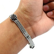 HANDMADE Indian Jewelry 925 Solid Sterling Silver Oxidized Bracelet K4
