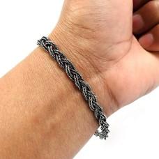 HANDMADE 925 Solid Sterling Silver Jewelry Oxidized Bracelet K1