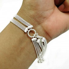 Ethnic Bracelet Solid 925 Sterling Silver Handmade Indian Jewelry L3
