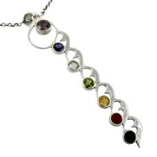 Precious Style!! 925 Silver 7 Stones Chakra Pendant