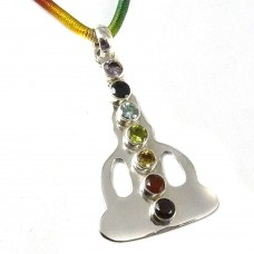Buddha Design ! 925 Sterling Silver Colorful Stones Chakra Pendant