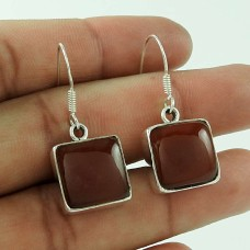 925 Sterling Silver Antique Jewellery Designer Red Onyx Gemstone Earrings