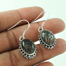 925 Sterling Silver Indian Jewellery Beautiful Snowflake Rutile Gemstone Earrings