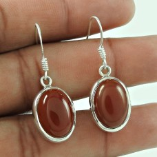Sterling Silver Fashion Jewellery Rare Red Onyx Gemstone Earrings