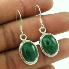 925 Sterling Silver Gemstone Jewellery Trendy Malachite Gemstone Earrings