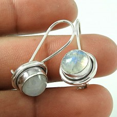 Briliance !! 925 Sterling Silver Rainbow Moonstone Earrings Manufacturer