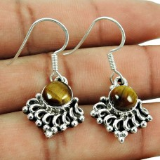 Party Wear Tiger Eye Gemstone Earrings 925 Sterling Silver Jewellery