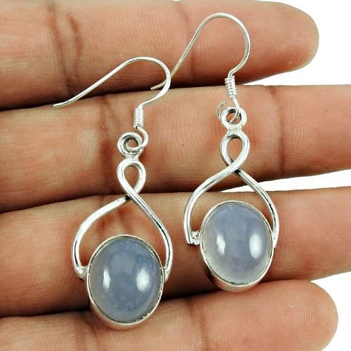 Daily Wear Chalcedony Gemstone Earrings Sterling Silver Jewellery