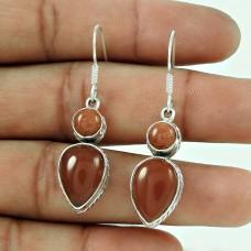 Trendy 925 Sterling Silver Carnelian Brown Sun Stone Gemstone Earring Jewellery