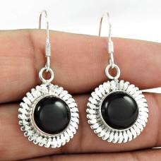 Simple ! 925 Sterling Silver Black Onyx Earrings Wholesaling