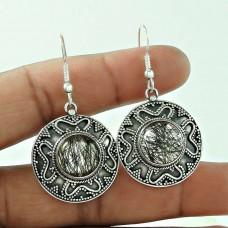 Designer Black Rutile Gemstone Earrings 925 Sterling Silver Jewellery