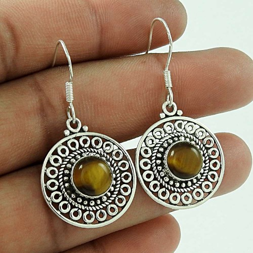 Stunning!! 925 Sterling Silver Tiger Eye Earrings Wholesale