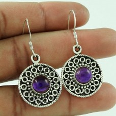 Classy Design!! 925 Sterling Silver Amethyst Earrings Supplier India