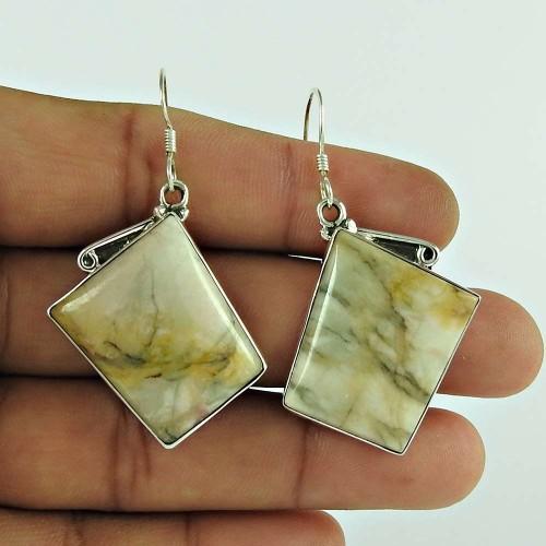 925 Sterling Silver Jewellery Charming Landscape Jasper Gemstone Earrings