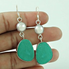 Absorbing!! 925 Sterling Silver Pearl, Turquoise Earrings Wholesaling