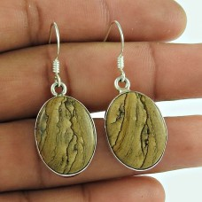 Big Royalty!! 925 Sterling Silver Picture Jasper Earrings Wholesale Price