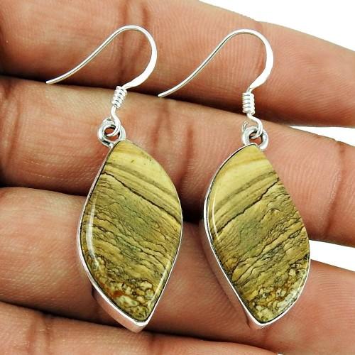 Handy!! 925 Sterling Silver Picture Jasper Earrings Wholesaler India