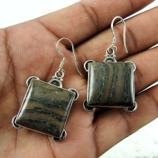 925 sterling silver vintage Jewellery Trendy Brush Agate Earrings Fabricante