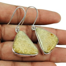Sterling Silver Jewellery Personable Fossil Coral Fashion Earrings