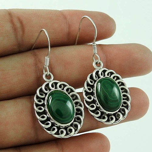 Natural Beauty !! Malachite 925 Sterling Silver Earrings Wholesaling
