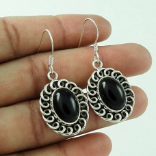 Classy !! Black Onyx 925 Sterling Silver Earrings Al por mayor