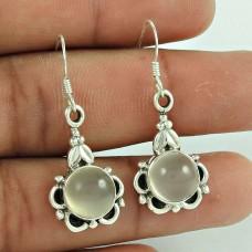 925 Sterling Silver Fashion Jewellery Trendy Moon Stone Gemstone Earrings