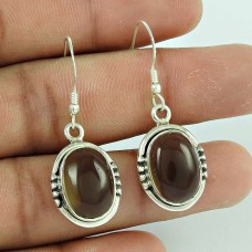 Sterling Silver Fashion Jewellery Rare Smoky Quartz Gemstone 925 Silver Earrings