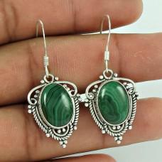 Large!! 925 Sterling Silver Malachite Earrings Mayorista