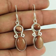 925 Sterling Silver Jewellery Fashion Brown Sunstone Gemstone Earrings