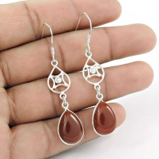 Stunning 925 Sterling Silver Carnelian Gemstone Earring Jewellery