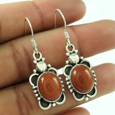 925 Sterling Silver Vintage Jewellery Traditional Brown Sunstone Gemstone Earrings