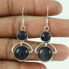 Gorgeous Design ! 925 Sterling Silver Blue Sunstone Earrings Wholesale