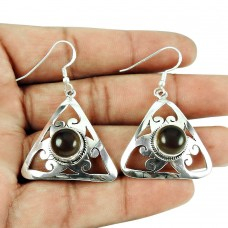 Fashion Smoky Quartz Gemstone Earrings 925 Sterling Silver Jewellery
