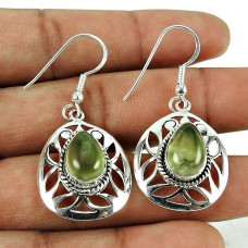 Beautiful Prehnite Gemstone Earrings 925 Sterling Silver Vintage Jewellery