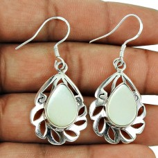 Rare Mother Of Pearl Earrings 925 Sterling Silver Indian Jewellery