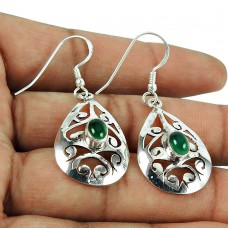 Designer Green Onyx Gemstone Earrings Sterling Silver Jewellery