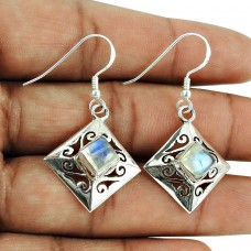 Party Wear Rainbow Moonstone Earrings 925 Silver Jewellery