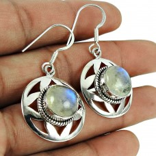 Daily Wear Rainbow Moonstone Earrings 925 Silver Jewellery