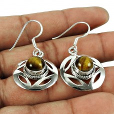Indian Silver Jewelry Beautiful Tiger Eye Gemstone Earrings