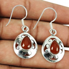 Charming Red Jasper Gemstone Earrings 925 Sterling Silver Jewellery