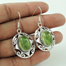 Maya Freedom!! 925 Sterling Silver Prehnite Earrings Manufacturer India