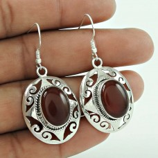925 Silver Jewelry High Polish Carnelian Gemstone Earrings
