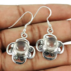 925 Silver Jewelry Rose Quartz Gemstone Sterling Silver Fashion Earrings