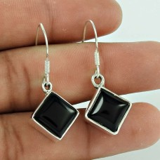 Lustrous 925 Sterling Silver Black Onyx Gemstone Earring Ethnic Jewellery